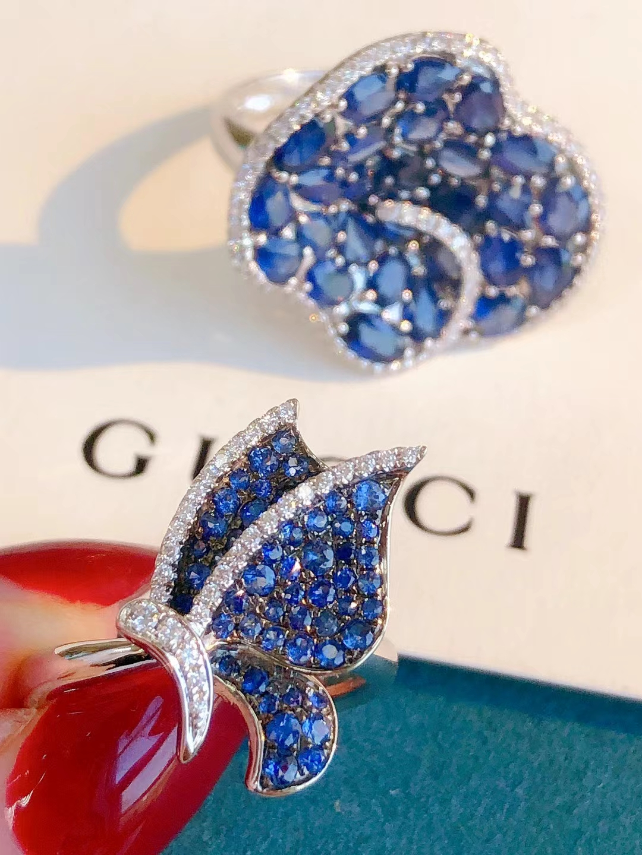 蓝宝石戒指18K白金钻钻石戒 50分天然宝石围镶经典女款