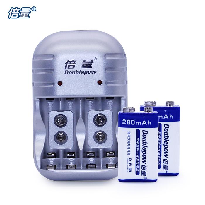 倍量 9V充電電池套裝6F22 9V電池充 配2節萬用表無線話筒電池