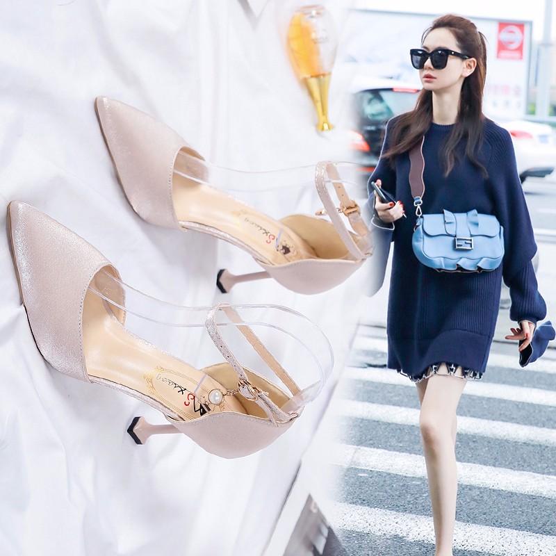 百搭中跟细跟高跟鞋女鞋春秋单鞋女皮鞋子女2020年新款春季凉鞋夏图片