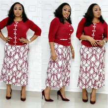 African mother's oversized Top + skirt two piece oversized printed fishtail skirt