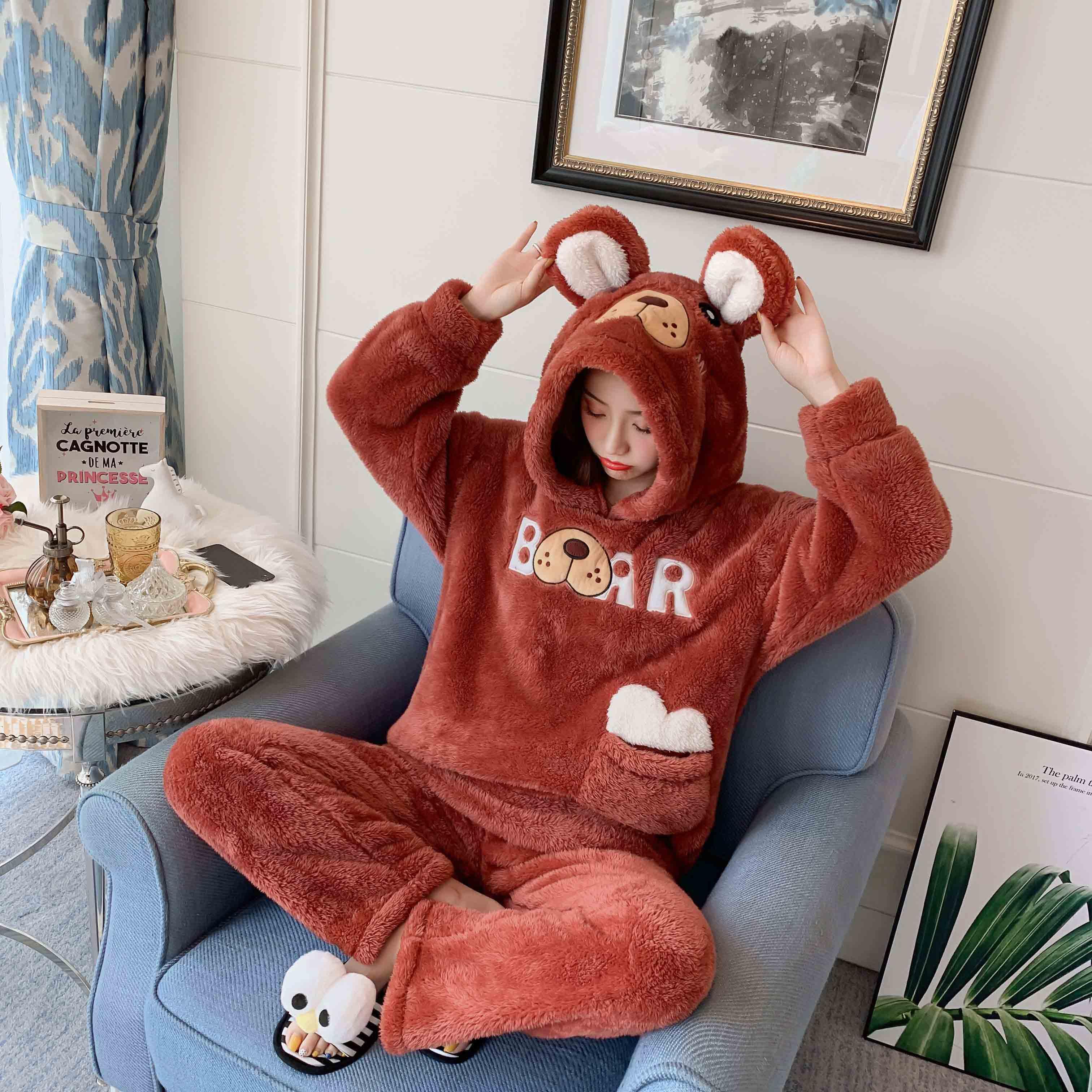 珊瑚绒秋冬季甜美可爱加绒外穿睡衣