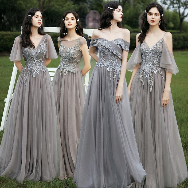 姐妹团伴娘服仙气质2020新款森系长袖烟灰色显瘦遮肉长款晚礼服女