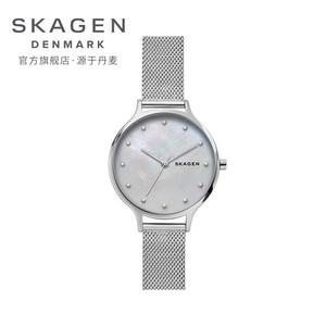 领100元券购买Skagen诗格恩2019新款珍珠石英表钢带经典满天星手表女友节日礼物