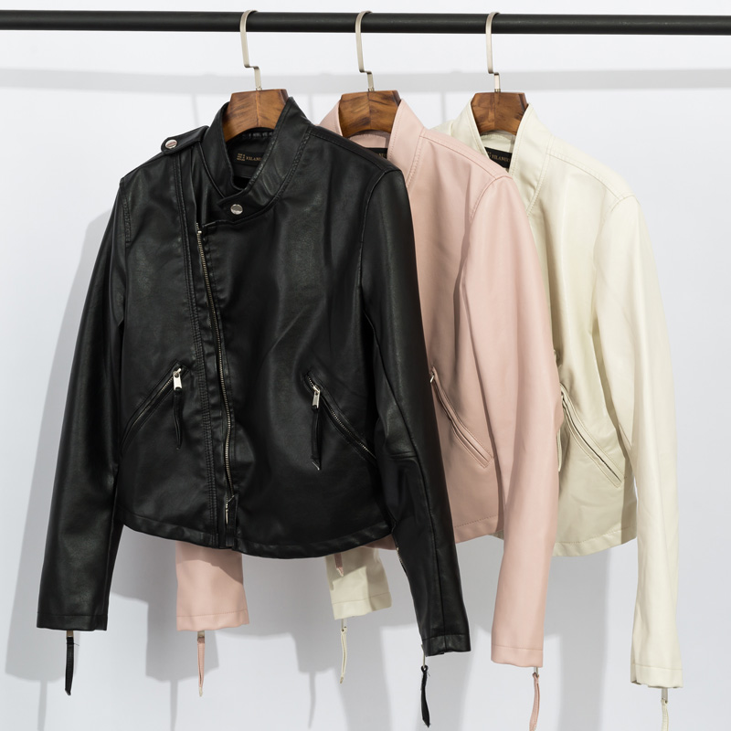 New Europe station slim and slim fashion small stand collar short PU leather coat motorcycle fashion wash leather jacket