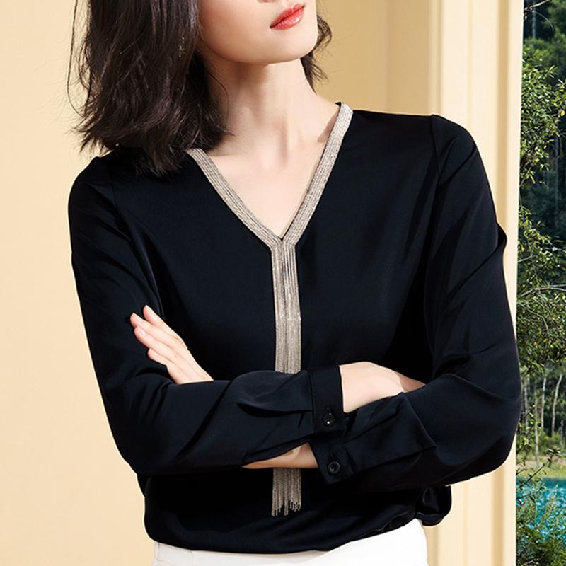 黑色雪纺设计感小众长袖秋装衬衫买三送一
