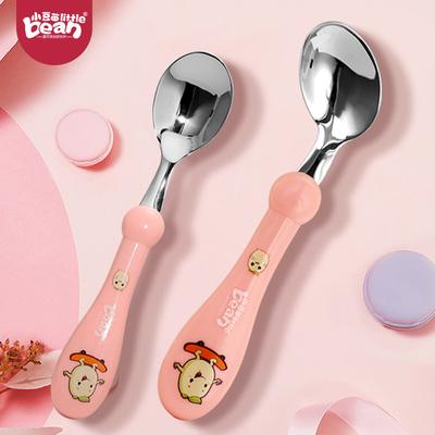 儿童用歪把勺子宝宝训练勺一岁半不锈钢练习勺可弯曲自学吃饭套装