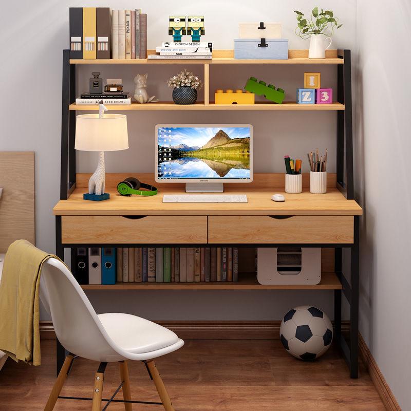 电脑台式桌简约现代家用卧室学生写字桌简易办公书桌书架一体桌子