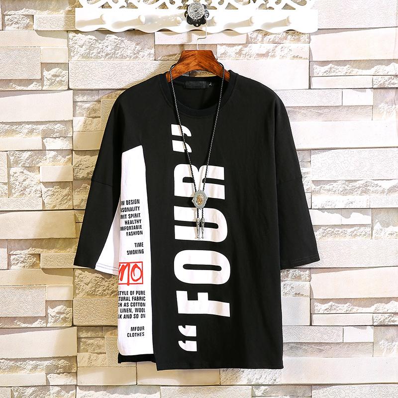 夏新款男士嘻哈短袖t恤潮流宽松bf哈伦裤韩版学生2018新款七分袖