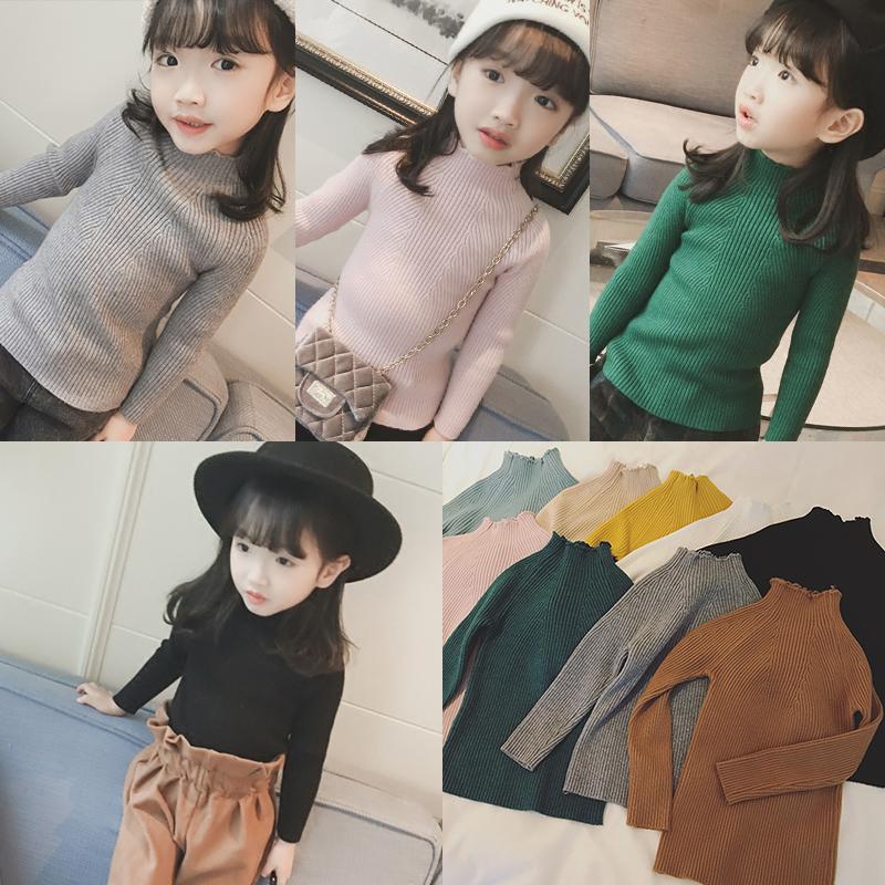 Ребятишки новинка зимний осеннний девочки хеджирование высокий воротник свитер ребенок корейский поддержка куртка девушка сгущаться свитер
