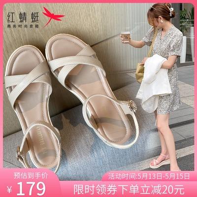 红蜻蜓凉鞋女一字扣带2021年夏季厚底露趾坡跟仙女风粗跟高跟女鞋