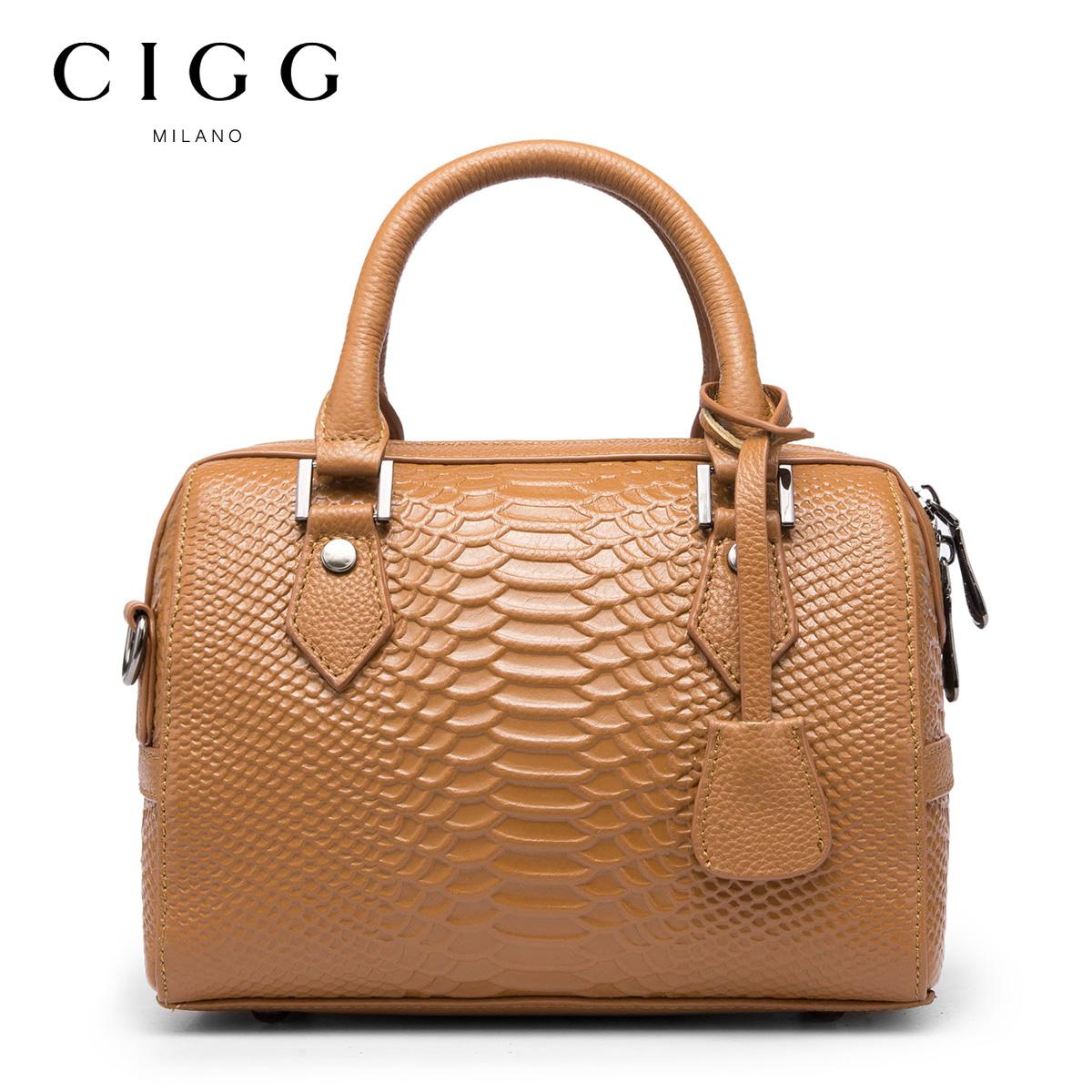 CIGG/西歌真皮女包 头层牛皮蛇纹休闲波士顿手提包小包斜挎包欧美