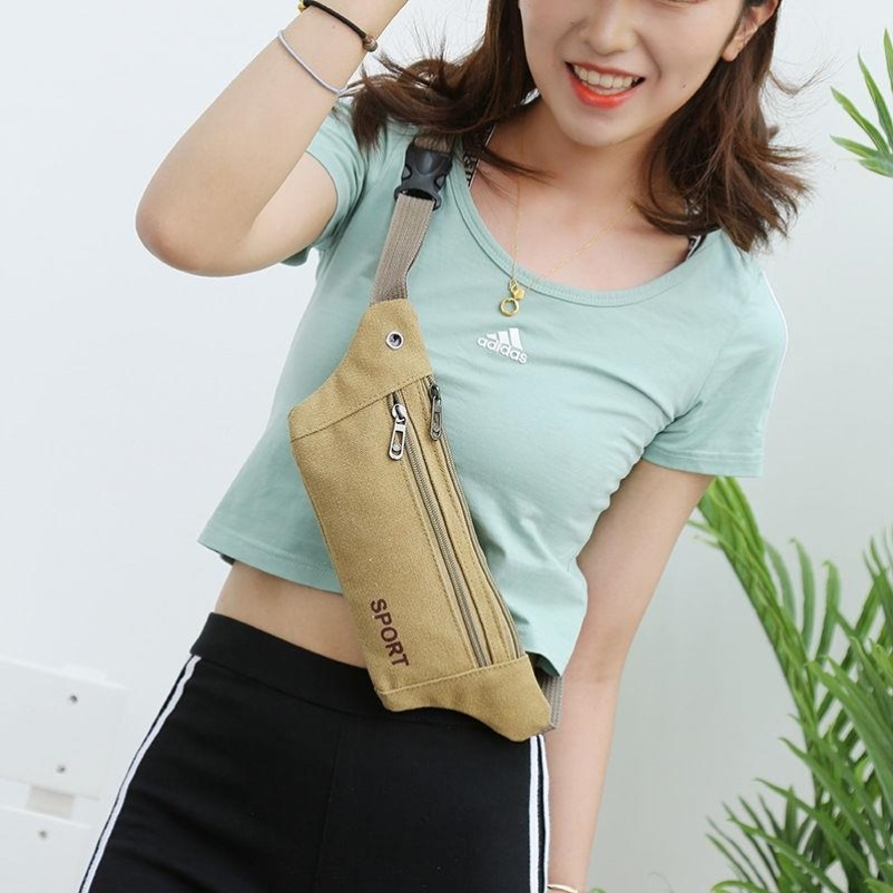 Canvas waist bag mens and womens small bag camouflage fitness bag multi-layer purse collection travel leisure bag business soft girl belt bag