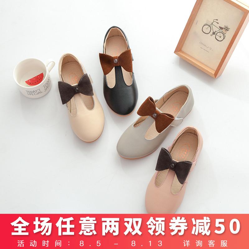 Танец частица для женского имени девочки принцесса обувной корейский 2017 весенний и осенний сезон. новый кожа одноместный обувной ребенок в больших детей черный кожаный обувной