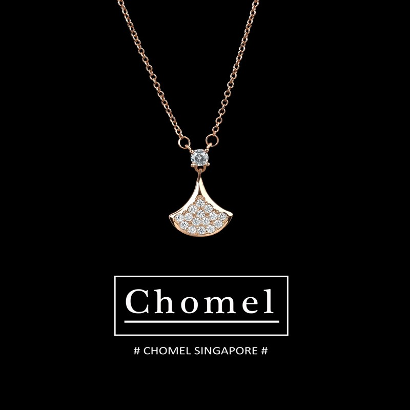 Singapore chomel official website small skirt fan Necklace Sterling Silver clavicle chain minority brand women ins cool net red