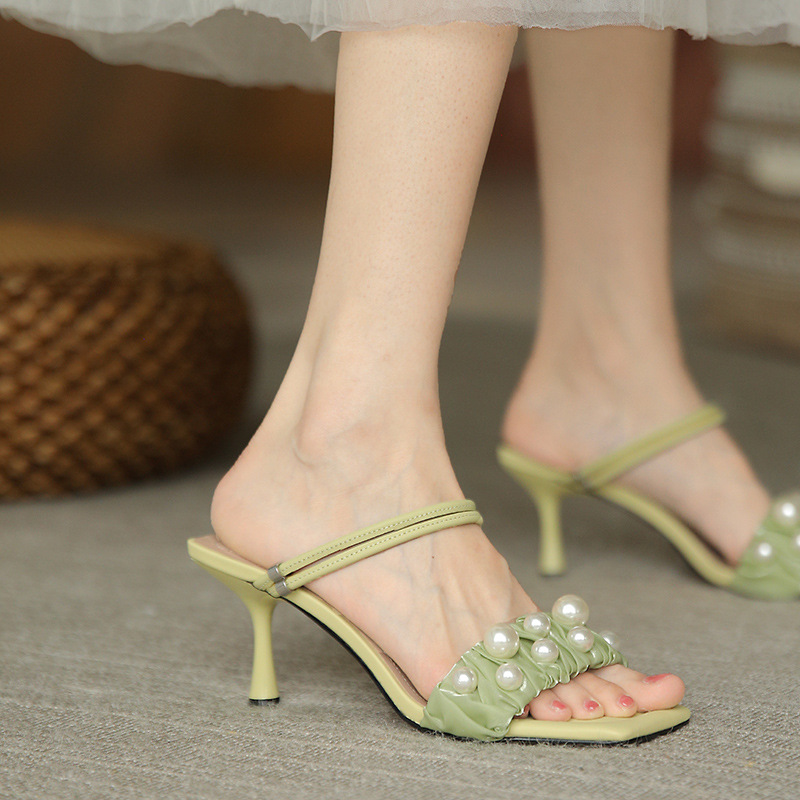 Small fresh green mesh pearl sandals new creative two wear thin high heeled Korean square head open toe one word sandals