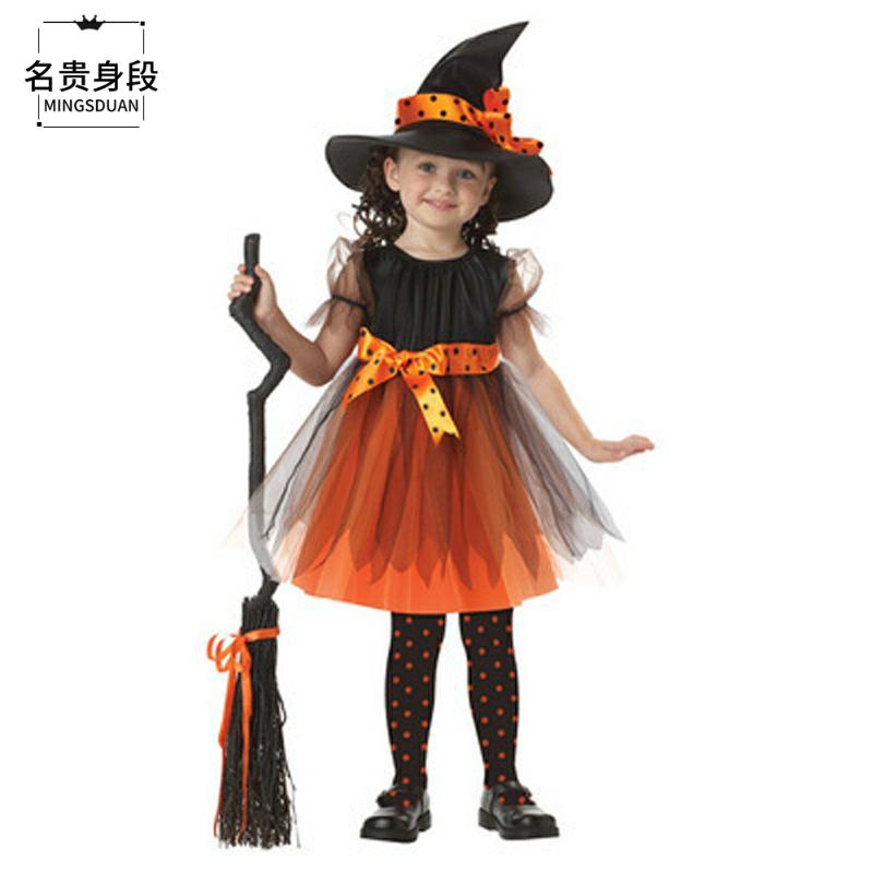 儿童万圣节装扮服饰欧美儿童cosplay演出服万圣节童装巫婆表演服