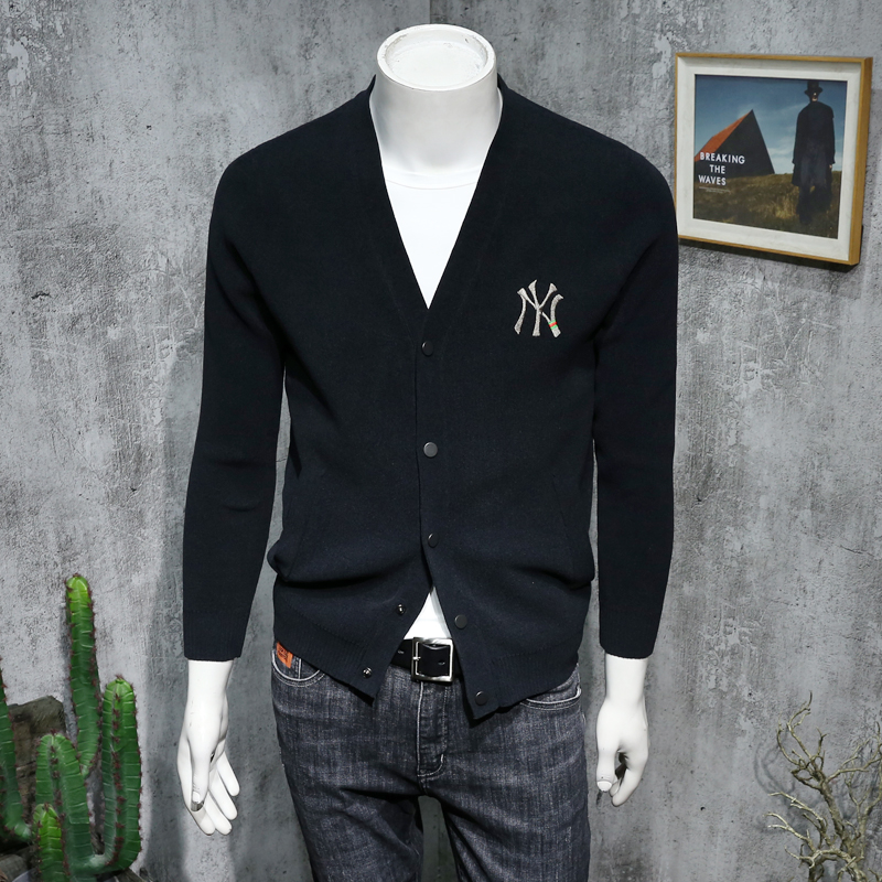 NY knitted cardigan mens V-neck Korean slim and versatile sweater with embroidered letters