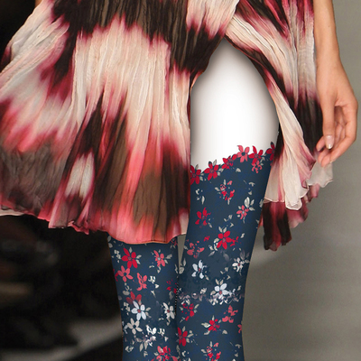 日系印花丝袜渐变色丝袜彩色wazi提花连裤袜小碎花原宿风个性袜子
