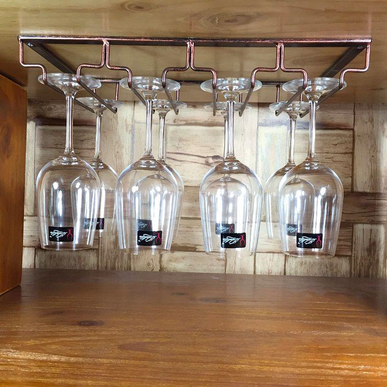 安尚李 歐式鐵藝懸掛紅酒杯架壁掛倒掛葡萄酒架酒櫃酒吧擺件