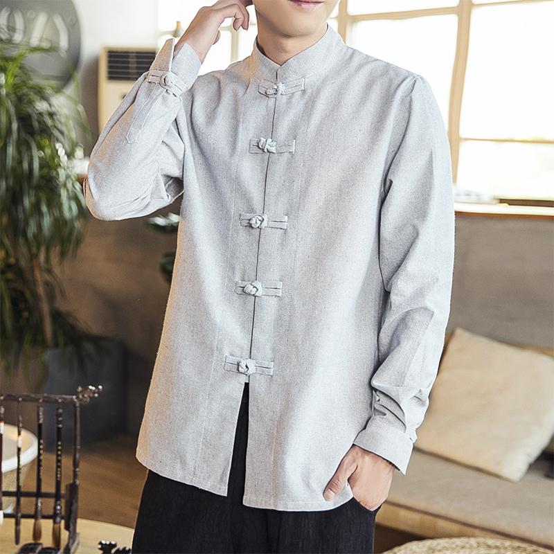 19秋季中国风长袖立领衬衫亚麻手工盘扣衬衫麻点长袖衬衫D257P60