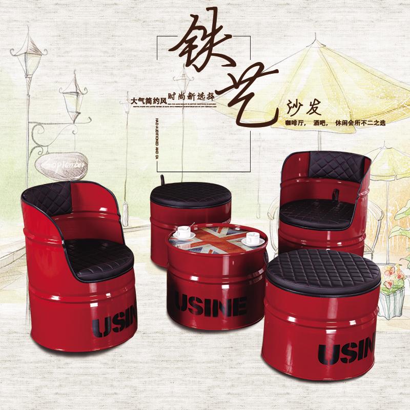 Ретро промышленность ветер бар столы и стулья кофе зал творческий диван железо баррель краски баррель табуретка железо бар табуретка хранение стул