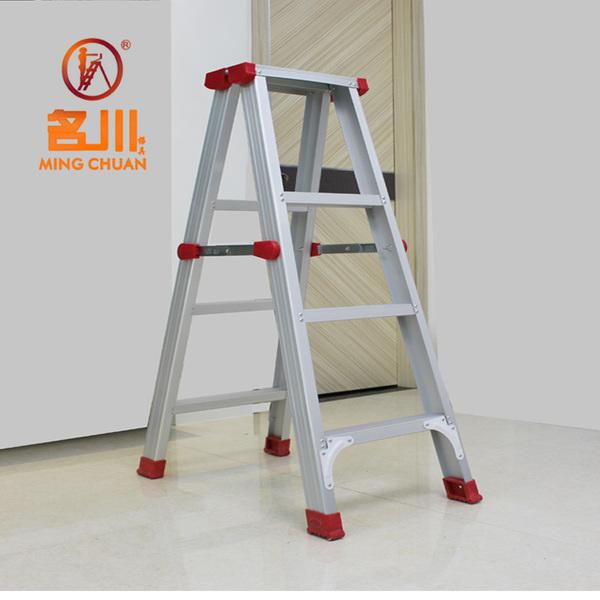 加厚可折叠铝合金人字形梯家用梯子四步双侧踏板梯子登高梯阁楼梯