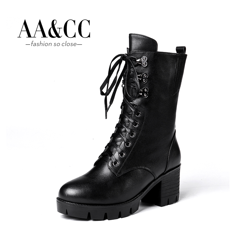 Autumn and Winter Genuine Leather Thick-soled Women's Boots British Wind Martin Boots, Boots, High-heeled, Thick-heeled, Middle-boot Military Boots, Motorcycle Boots