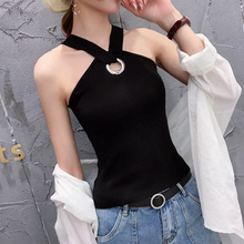Hanging waistcoat lady Xia Nei with ice silk knitted bottoming shirt fashion wearing net Hongpang Yamei back suspension belt lady