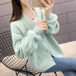 秋装2021年新款女小个子毛衣外套春秋秋款女装爆针织开衫早秋上衣
