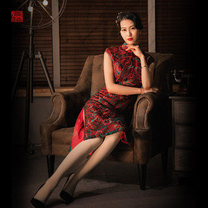 凤禧蕾丝半月袖旗袍春夏新款改良旗袍裙女中式礼服连衣裙宴会