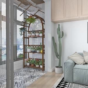 防腐实木植物阳台落地式多层置物架