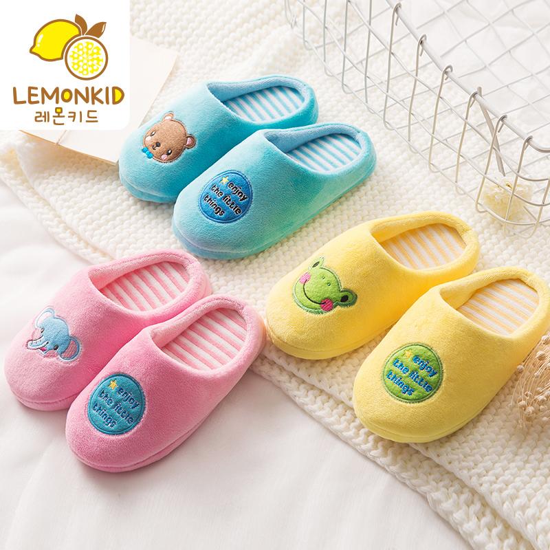 新款儿童男童女童宝宝秋冬室内防滑耐磨保暖可爱居家棉拖拖鞋