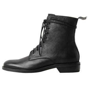 一力米灰馬丁靴2020秋季新款粗跟英倫風真皮繫帶百搭鬼帝短靴子女