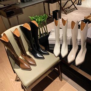一力米灰不过膝高筒长靴女2020新款尖头中加绒骑士靴真皮西部靴子
