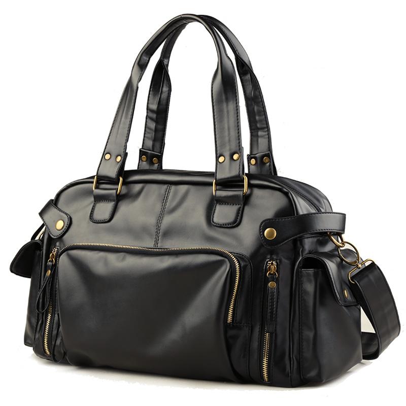 男包 潮流單肩包 PU男士包包複古斜挎包手提包旅行包