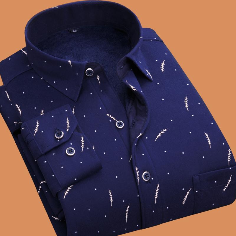 【保暖衬衫】男士长袖格子加绒加厚修身秋冬季休闲衬衣寸衫男装