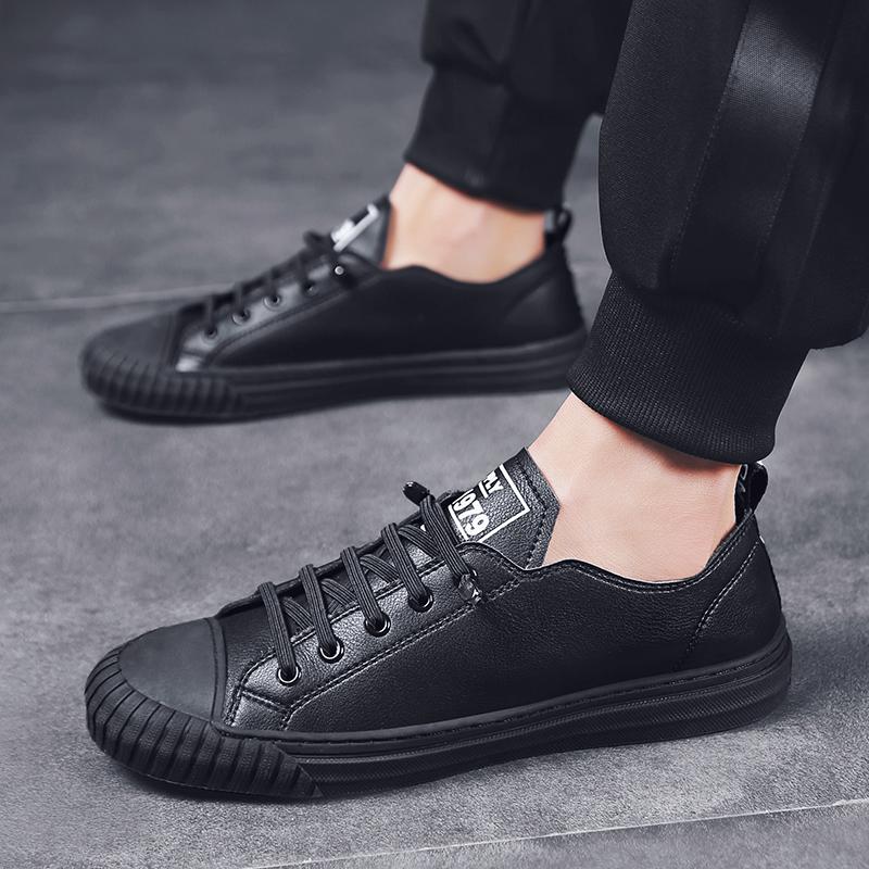 男鞋春季潮鞋2019新款板鞋男韩版潮流休闲鞋男士黑色百搭平底鞋子