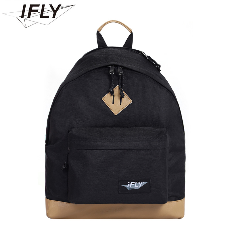 IFLY新款皮底防水双肩包时尚欧美风男女背包休闲旅行学生电脑书包