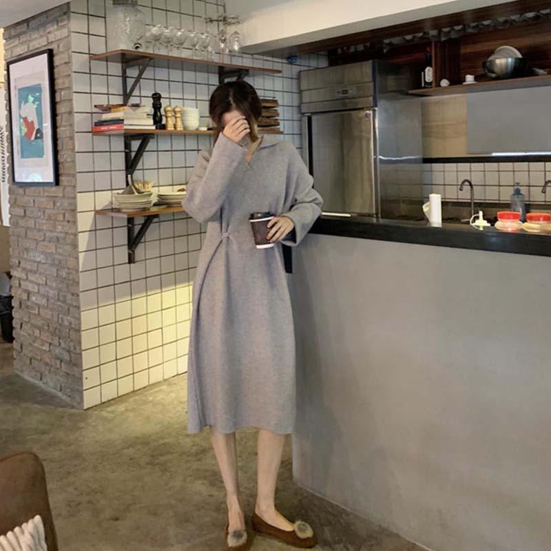 右米慵懒风宽松显瘦两种穿法中长款针织裙女2018冬季新款百搭长裙