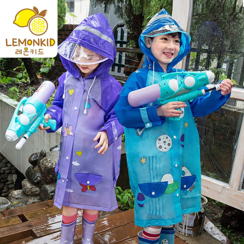 韩国宝宝可爱儿童雨衣书包位大帽檐男童女童小孩学生防水可爱雨披