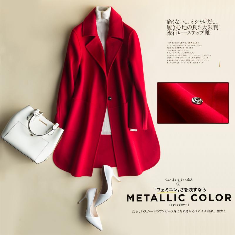 绒暖斯特双面呢大衣女中长款2018新款韩国宽松羊毛呢外套显瘦