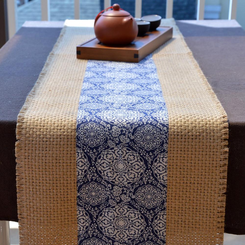 粗麻布茶席中式禅意茶旗亚麻桌布艺