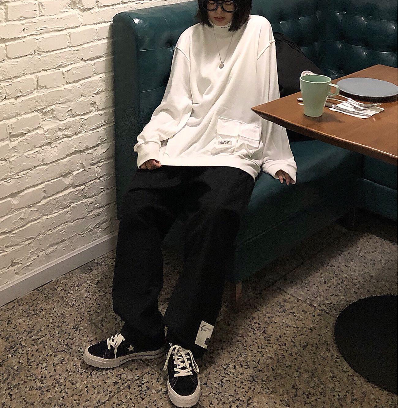 Take off咖喱人/复古日系套头高领宽松卫衣oversize潮男女限100000张券