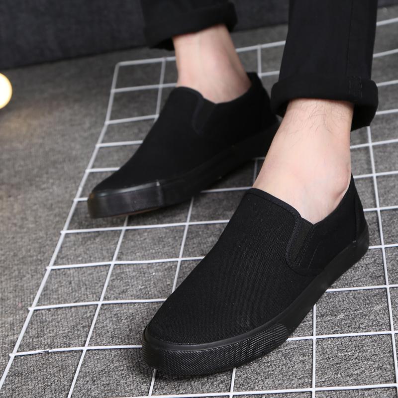 一脚蹬男鞋懒人帆布鞋低帮老北京布鞋休闲黑色工作鞋大码45464748
