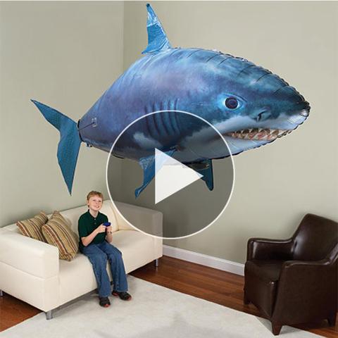 抖音同款会飞的鲨鱼气球玩具遥控气球鱼飞天安普海力月池飞鱼anby