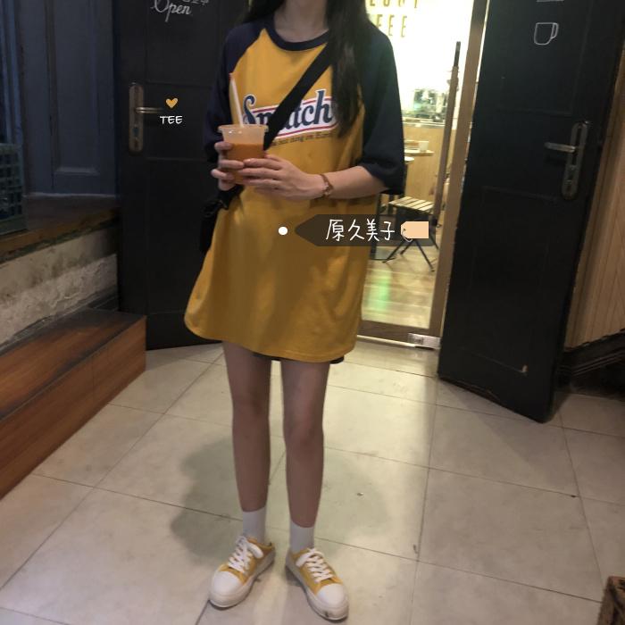 原久美子韩风chic夏日活力少女 古着感字母拼接袖下衣失踪短袖T恤满36.00元可用1元优惠券