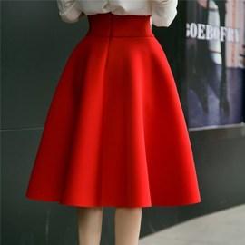 秋冬新款韩版高腰复古伞裙中长款显瘦大摆裙A字百褶蓬蓬裙半身裙