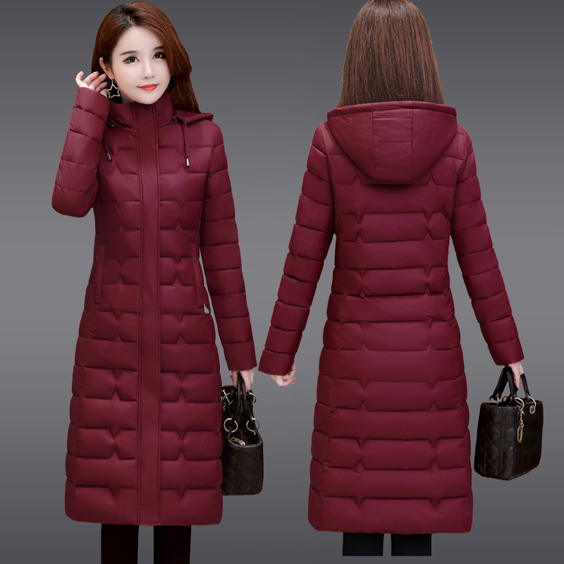 Middle aged and old womens light down cotton padded jacket, slim mothers padded jacket, extra large cotton padded jacket, womens winter coat