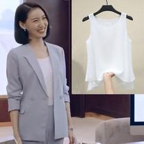 欧货2021春季新款白色吊带背心雪纺女西装内搭打底衫大码上衣外穿