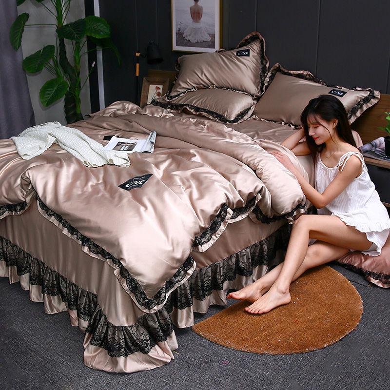 韩版水洗真丝床裙款四件套春夏季冰丝清凉床罩被套单双人床上用品